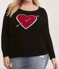 66f89d2c90b Torrid Black Long Sleeve Heart W  Arrow Raglan Sweater 3x 22 24  64404