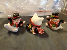 Fitz and Floyd Holly Jolly Snowman Christmas Figurines set of 3 ceramic