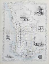 c1854 WESTERN AUSTRALIA SWAN RIVER Genuine Antique Map by Rapkin FREE POSTAGE