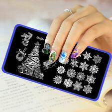 Arte en Uñas Stamping Placa Metal Sello Copos de Nieve Navidad vendedor del Reino Unido