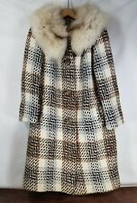 """Vintage 60s Coat Fur Collar Tweed Shift Woven Fuzzy Retro Lined Brown 20"""" Chest"""
