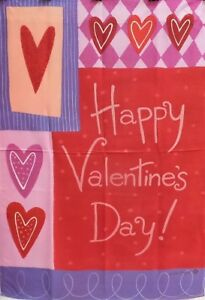 """Patchwork Hearts Standard House Flag by Toland #2457, 28""""x40""""  LAST ONE!!!"""