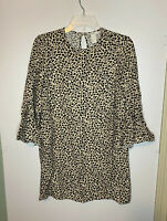 NWOT H&M Woman's Cheetah Animal Print 3/4 Bell Sleeve Dress Size 2 Keyhole Back