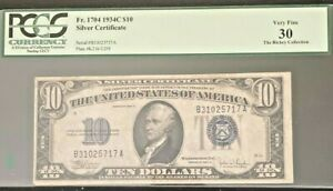 1934-C $10 Silver Certificate  Fr. 1704 PCGS 30 Rickey Collection