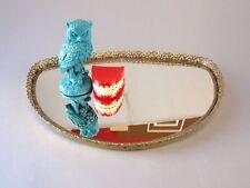 Vintage Mirrored Mirror Perfume Vanity Jewelry display gold Ornate Filigree Tray