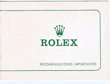 ROLEX 80's Card Vintage Recommendation Tarjeta de recomendacion Rolex VINTAGE