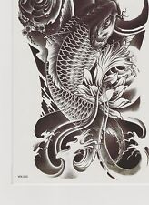 1 Pack Waterproof Black Large Temporary Tattoo Oriental Carp Fish Good Luck