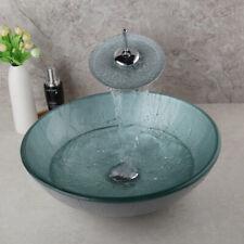 Bathroom Artistic Glass Vessel Vanity Sink Chrome  Faucet  12.6FD3