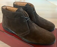 $550 Bally Brown Milkom Suede Ankle Boots Size US 10.5 EEE Made in Switzerland