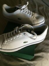 NEW IN BOX LACOSTE  MARLING TENNIS SHOES /TRAINERS WHITE LEATHER W/BLUE   13 D