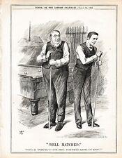 1896 Punch Cartoon Oom Paul Chamberlain Well Matched Snooker