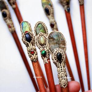 Fire Labradorite Druzy Stick Polymer Clay Hair Stick Gemstone Hair Accessories