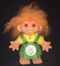 Vintage Thomas Dam Troll Doll Bank 1960's Orange Hair 7 Inch