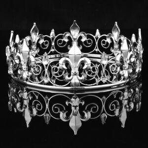 Men King Crown Imperial Medieval Fleur De Lis Wedding Circle Round Tiara
