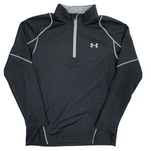 Under Armour Mens Large 1/2 Zip Pullover Fleece ColdGear Fitted Fit Black
