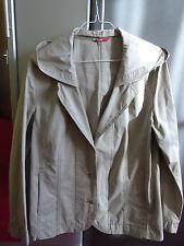 Jacke mit Kapuze, dünn, stein, Blazerform, Damen, Gr. 44, tweans