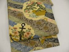 Precious! Antique Light Yellow Silk Japanese MARU OBI w/Anchor, SAKURA A16