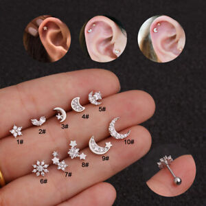 New Zircon Flower Star Moon stud Piercing Earrings Ear Bone Puncture Jewelry#A