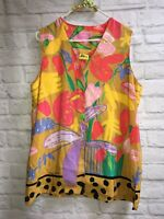 Vintage Ken Done Art and Design Art to Wear Artsy Colorful Tunic Lagenlook Large