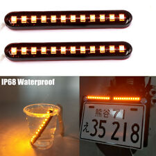 2X Flowing Motorcycle 12 LED Turn Signal Tail Light Blinker Strip Amber Trailer