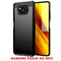 "Coque Silicone Fibre de Carbone Brossé Xiaomi Poco X3 NFC/ Poco X3 6.67"""