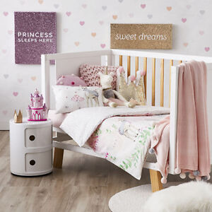 ADAIRS KIDS Winter Castle Princess Deer COT Quilt Cover Set- white pink, reverse