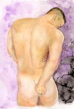 Painting, NUDE male CITRON, watercolor 1/47/50 gay rear #ArtofEsteban