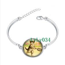 Kitten Playing Tennis glass cabochon Tibet silver bangle bracelets wholesale