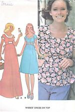 Vintage Hippie Flowing Tunic Top Blouse & Dress Sewing Pattern BOHO Style UNCUT