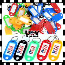 Lot Plastic Key Tags Metal Ring Luggage Card Name Label Keychain W/ Split Ring U