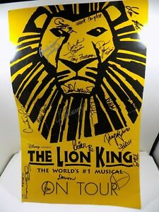 """ORIGINAL CAST OF THE LION KING Musical Stage Broadway Show SIGNED 22"""" x 14"""" RARE"""