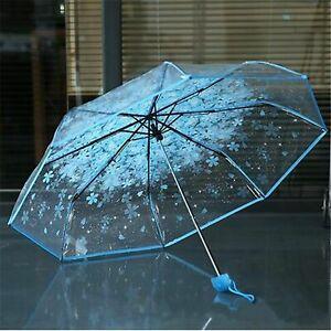 Women Umbrella Automatic Folding Compact Umbrellas Transparent Flower Parasol