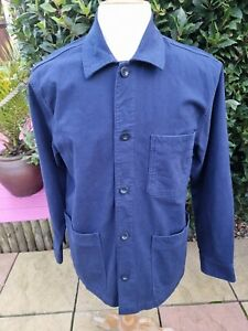 Lands' End Workwear Chore Jacket Overshirt Blue Medium