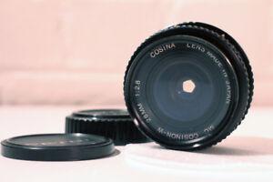 ***** MC COSIMNON-W ~ 28mm + Prime Lens + Front & back caps + Filter *****