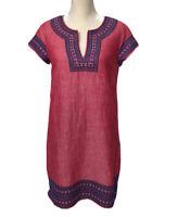 Vineyard Vines Tunic Dress Women's Size 6 linen blend Embellished Embroidered