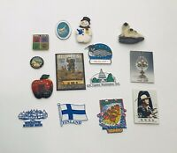 Vintage Lot of 14 Fridge Magnets, Finland, Alaska, New York, Gene Autry & More