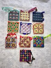 10 Danbury Mint Retired Quilting Christmas Collection Ornaments ~ New