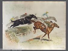 LITHOGRAPHIE ANCIENNE signée Louis Claude, courses, chevaux, jockeys