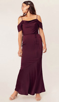 BNWT Oasis COWL NECK BRIDESMAID Maxi DRESS Burgundy UK 12 RRP £85