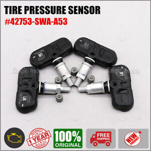 Set of (4) TIRE PRESSURE SENSOR TPMS 42753-SWA-A53 NEW For Honda Accord CR-V