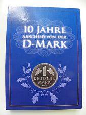 10 Jahre Abschied von der D-Mark - Mappe mit 2 Gigant Münzen Versilbert mit Gold