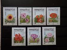 7x timbres stamps R.P. KAMPUCHEA 1983 Used Obliterés FLEURS FLOWERS CAMBODGE