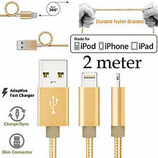 2m Apple iPhone 5 6 7 8 SE X XS Max XR iPad Pro Strong Fast data charger cable