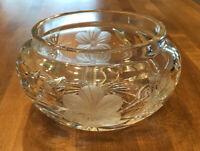 "VTG Clear Cut Lead Glass Bowl Butterflies Flowers Leaves 5"" X 2 1/2"" No Lid"