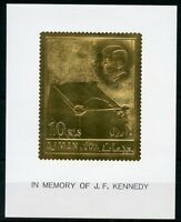 AJMAN JOHN F. KENNEDY GOLD FOIL STAMP &  DELUXE SOUVENIR SHEET  MINT HINGED