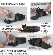 3 pc SET Top Performance Cat Grooming Bag NO BITE SCRATCH Restraint System Bath