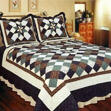 Country Treasures Patchwork King Bed Quilt. Patchwork Star Floral Quilt