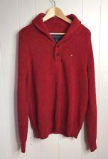 TOMMY HILFIGER Mens Shawl Neck Jumper Sweater Red sz Medium cotton