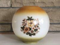 "10"" GWTW Floral Bouquet Round Ball Globe Hurricane Oil Glass Lamp Shade"