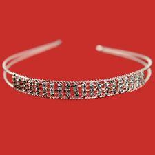 Silver Tone 3 Row Sparkling Diamante Crystal Tiara Alice Head Band L6